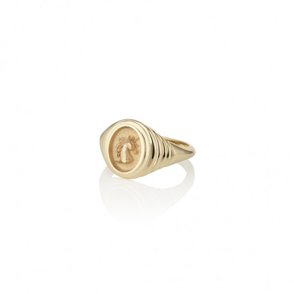 14K gold unicorn signet ring