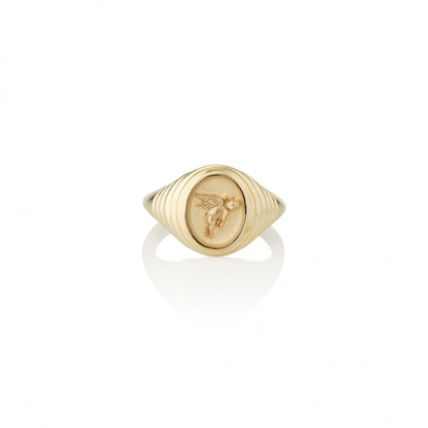14K flying pig signet ring