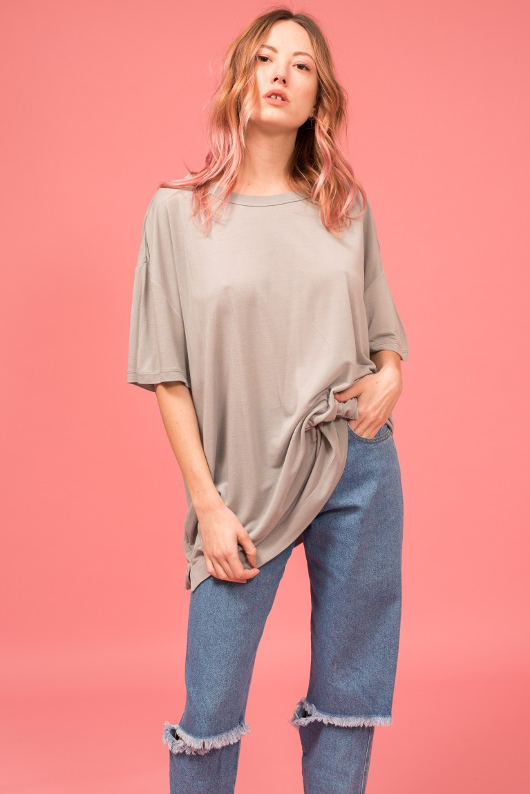 Oversized silk t-shirt