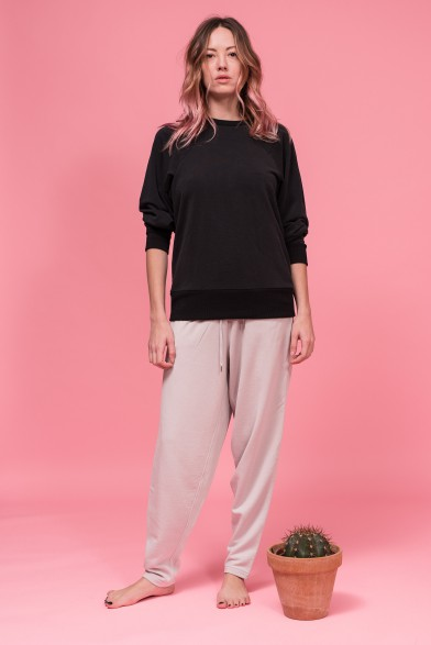 Silk and cotton track pants