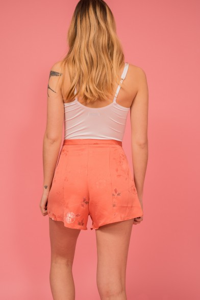 Silk shorts pink flower