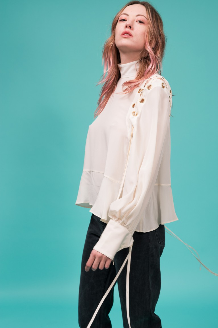 Crepe de chine lace-up blouse