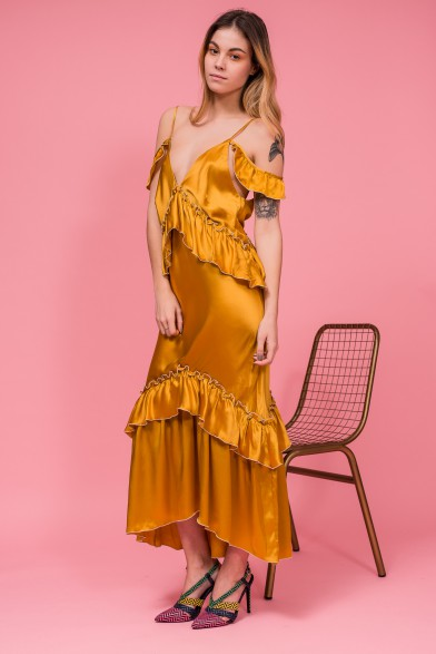 Eco-dyed silk convertible dress