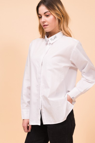 "Cotton white shirt ""Kiss & Tell"""