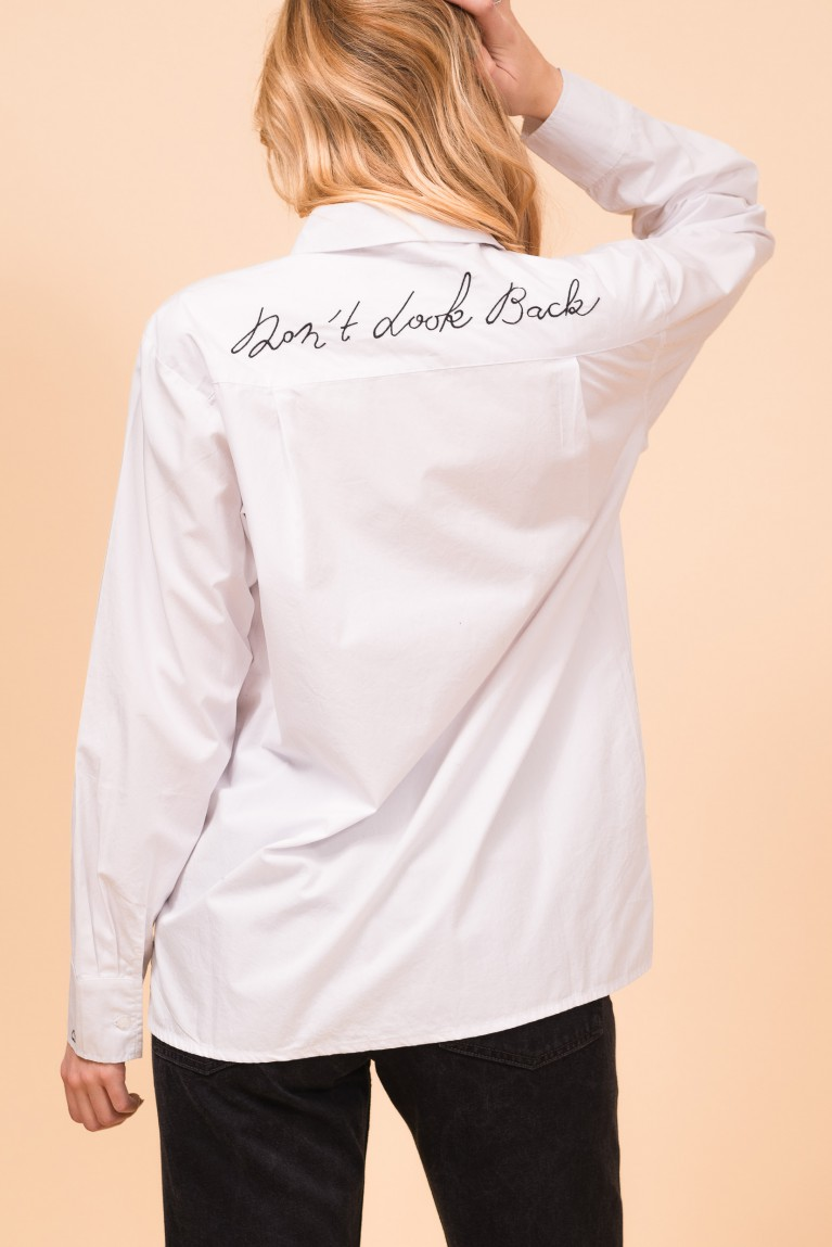"Cotton white shirt ""Don't look back"""