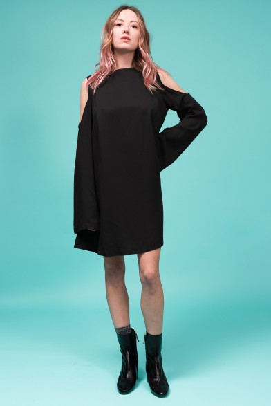 Tencel mini black dress