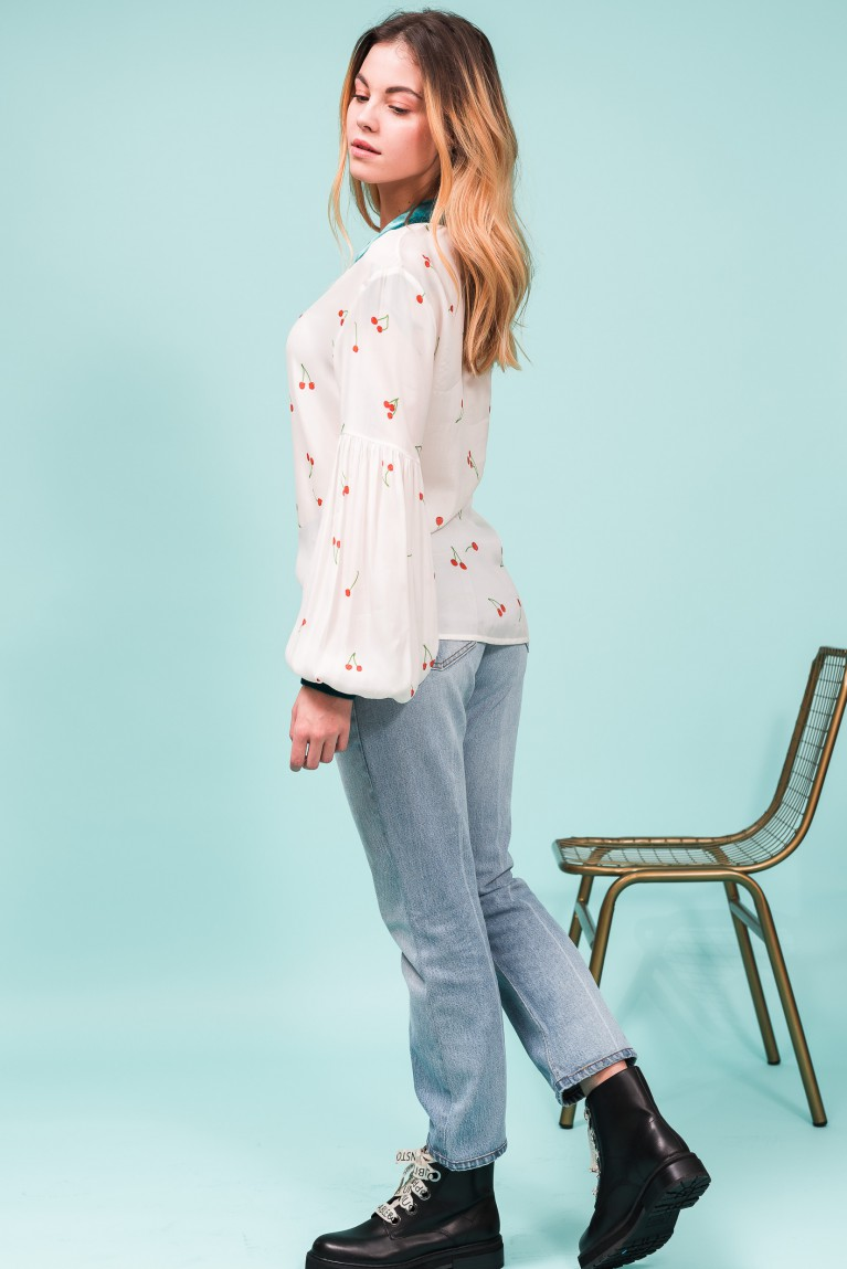 Cherry silk blouse