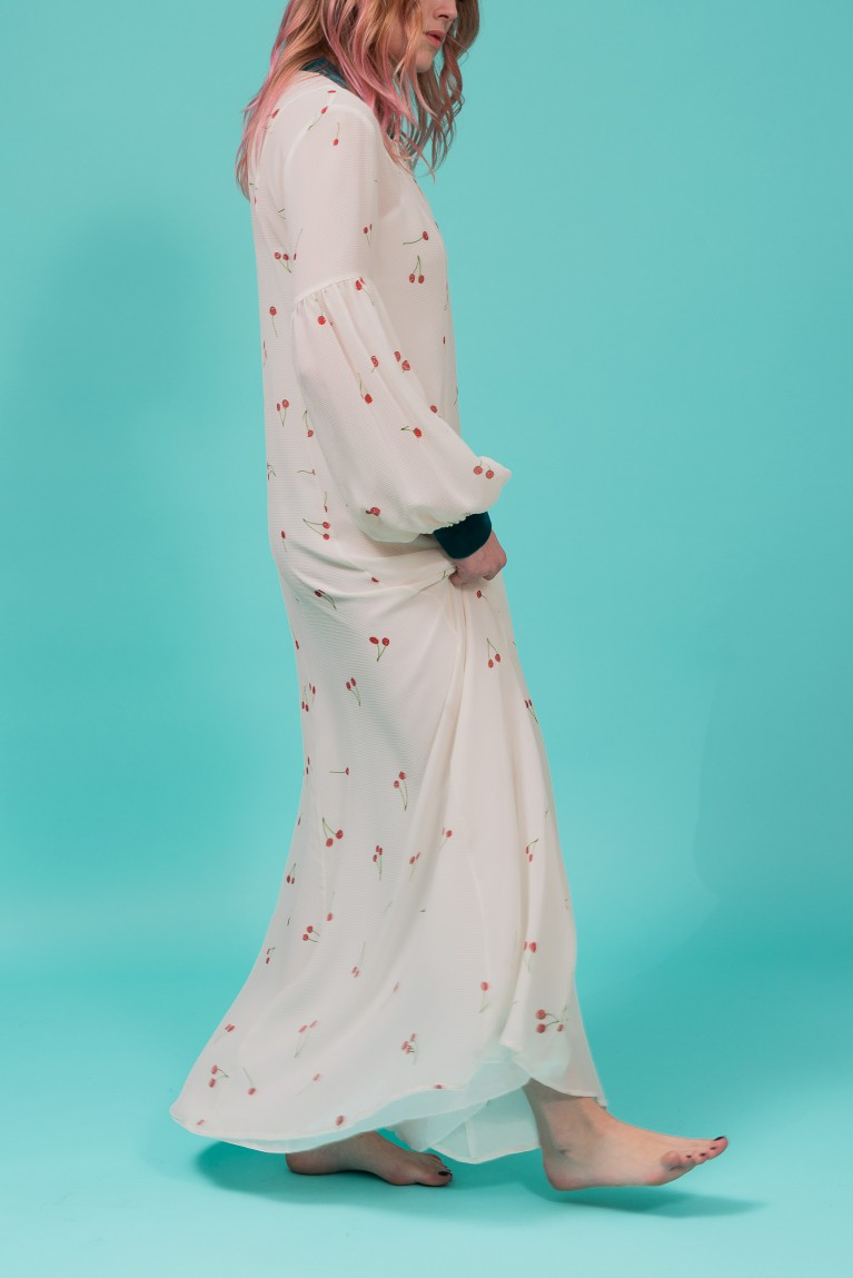 Cherry silk maxi dress