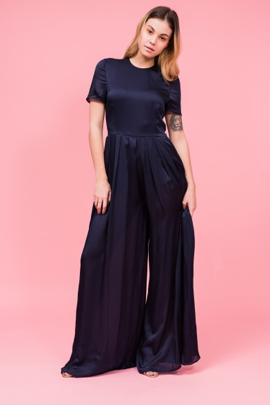 Silk wide-leg jumpsuit