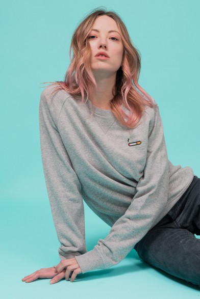 "Cotton sweatshirt embroidered ""cigarette"""