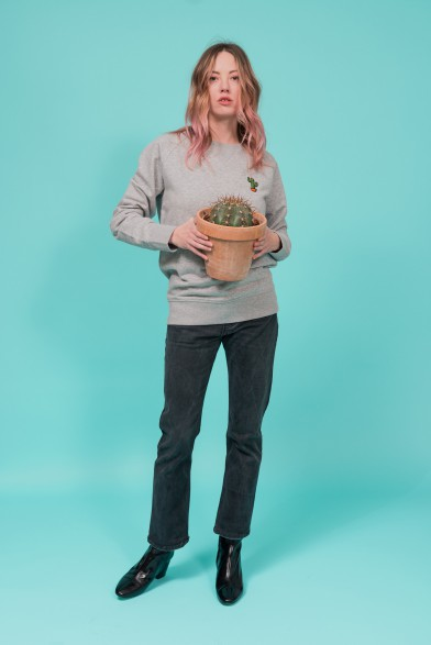 "Cotton sweatshirt embroidered ""cactus"""