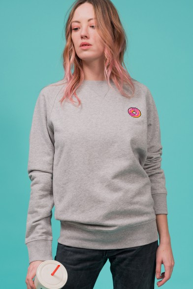 "Cotton sweatshirt embroidered ""donut"""