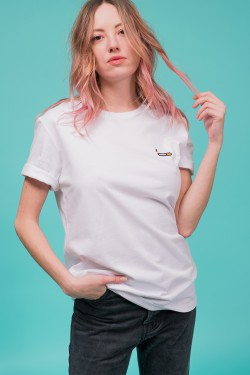 "Cotton white embroidered t-shirt ""cigarette"""