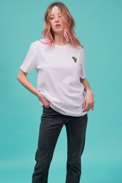 """Cotton white t-shirt embroidered """"cactus"""""""