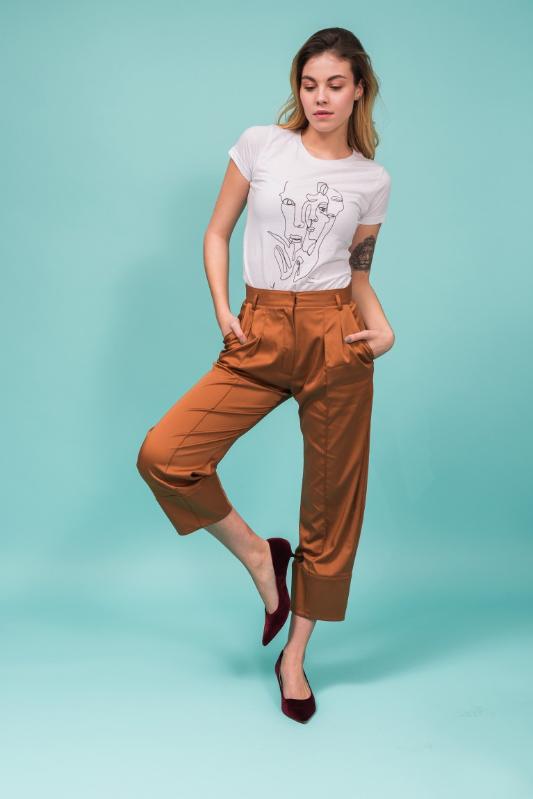 Cropped cupro trousers