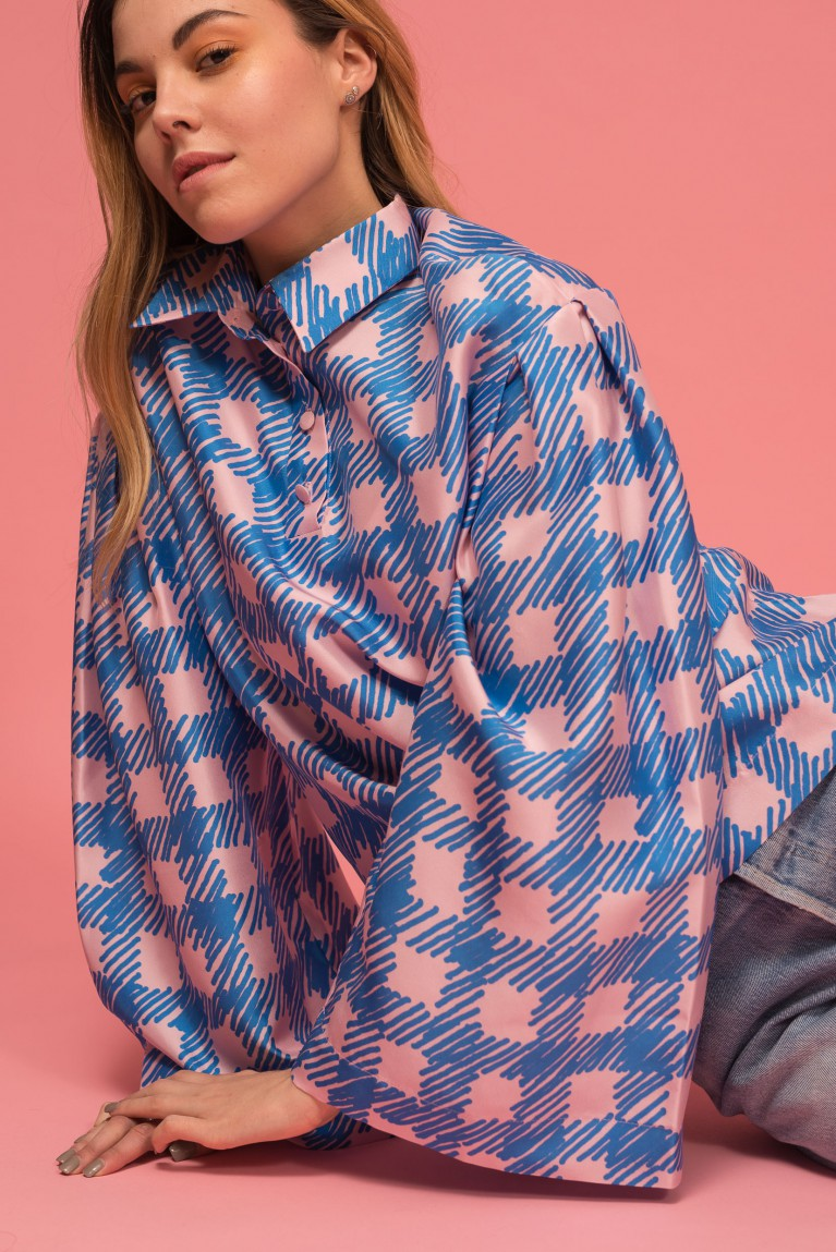 Silk check blouse
