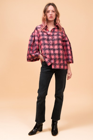 Silk check shirt
