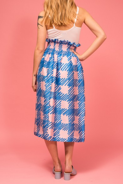 Silk check skirt