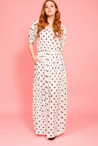Smiling polka dot dress