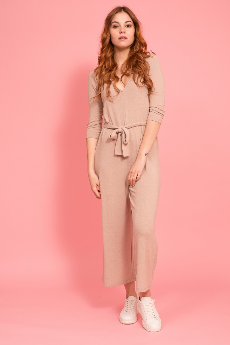 Long sleeve modal jumpsuit