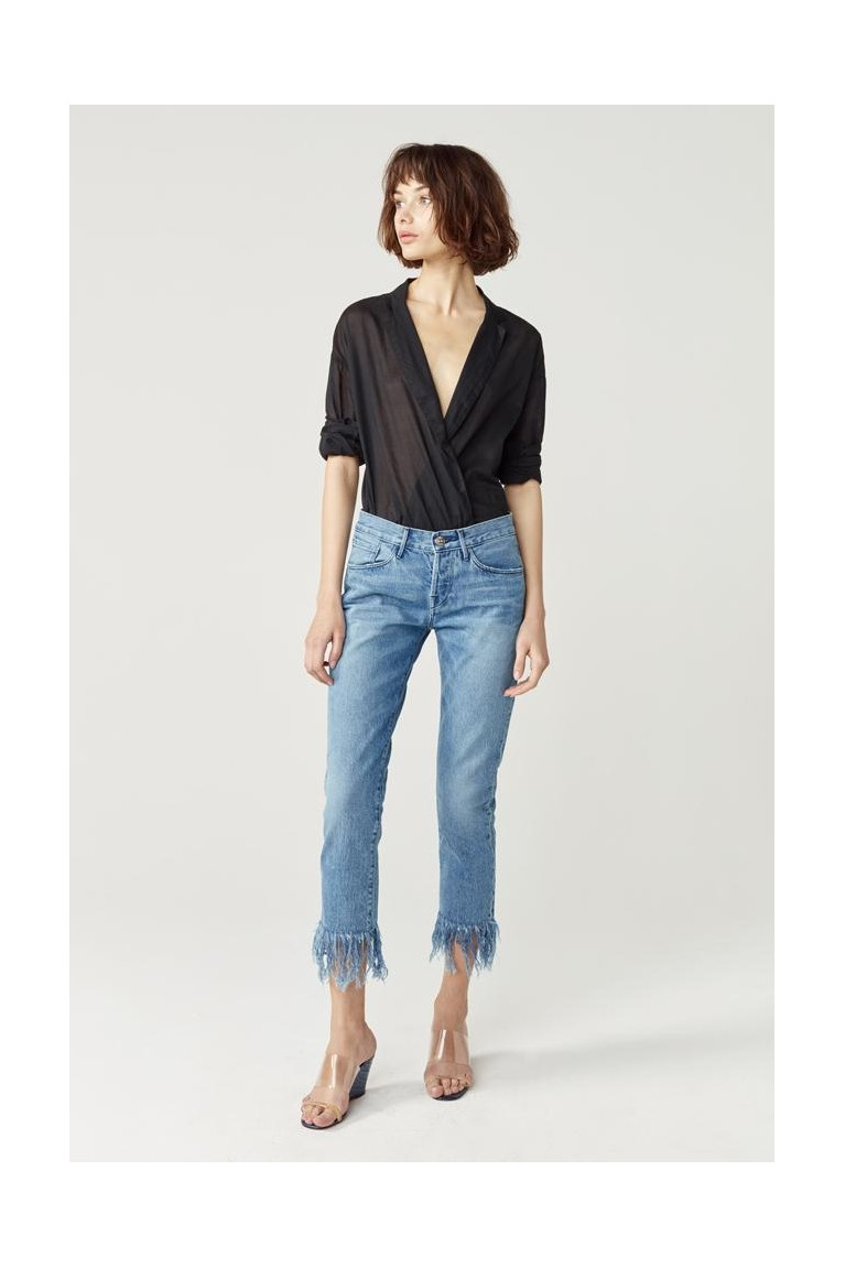 Mid rise crop straight-leg fringe jeans
