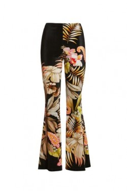 Velour flared trousers flowers