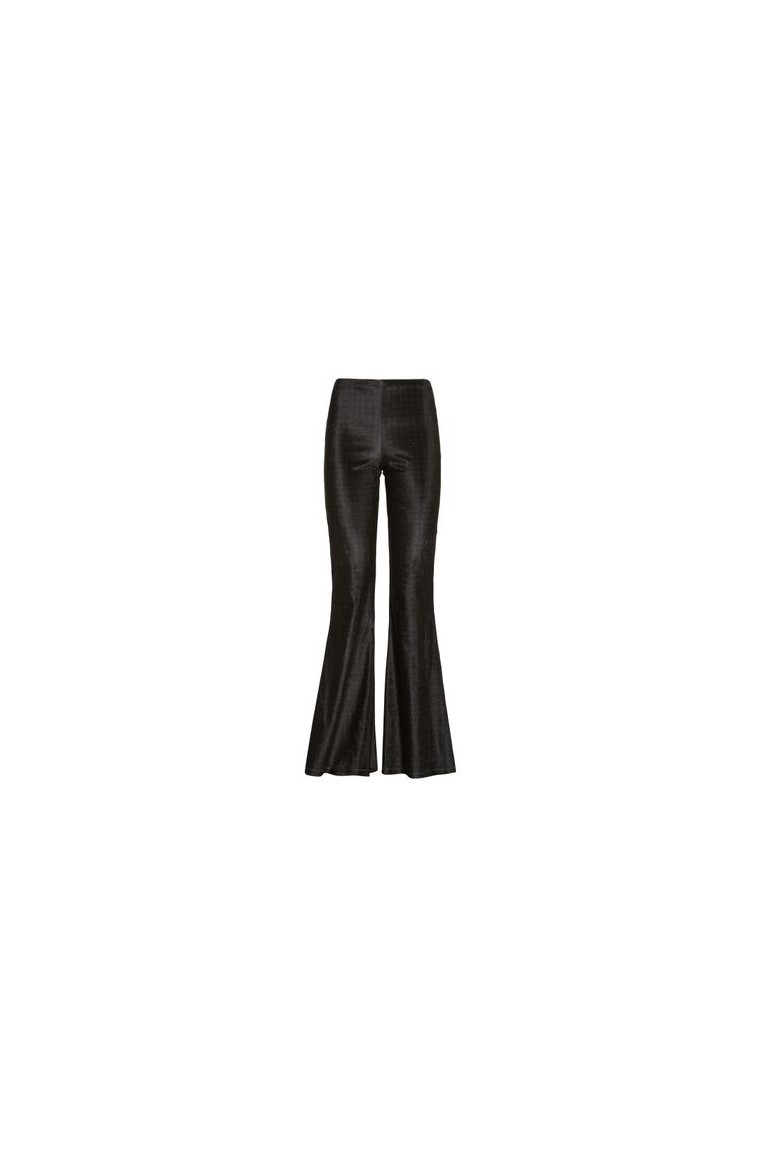 Velour flared trousers grey