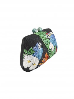 Rosie small clutch black macaw