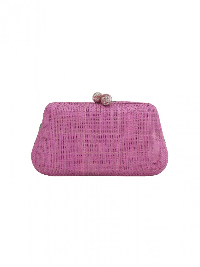 Rosie small clutch pink macaw