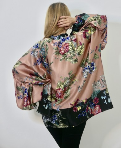 Oversized print blouse pink