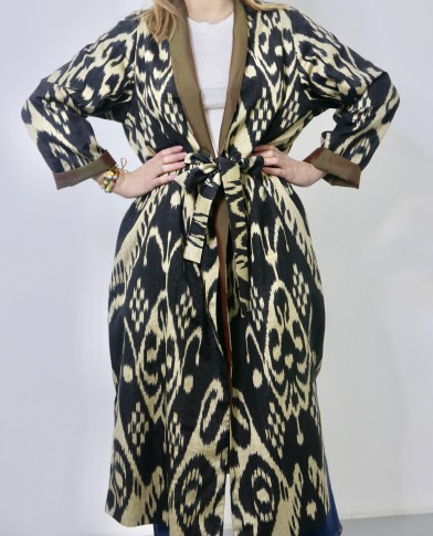 Long silk ikat coat