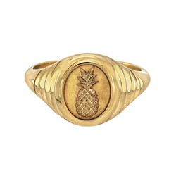 14K gold pineapple signet ring