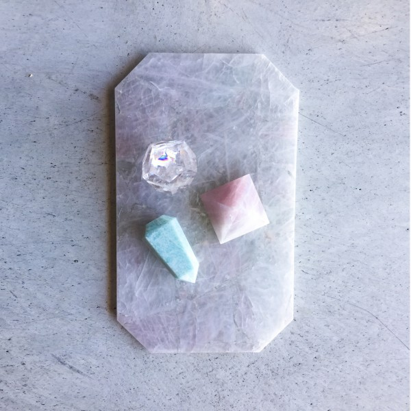Rose quartz rectangle tray